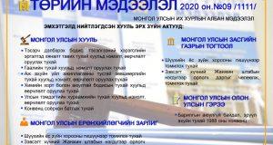 """""""Төрийн мэдээлэл"""" эмхэтгэлийн 2020 оны 09 дугаарын тойм"""